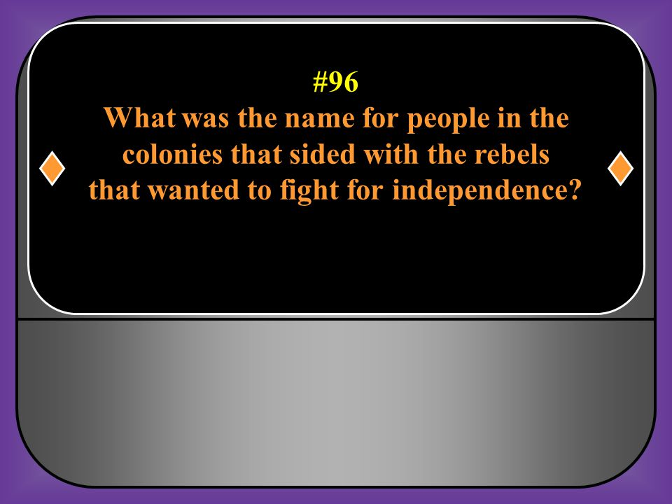 #95 What group dressed as Indians, allegedly Led the Boston Tea Party on Dec 16, 1773? Sons of Liberty