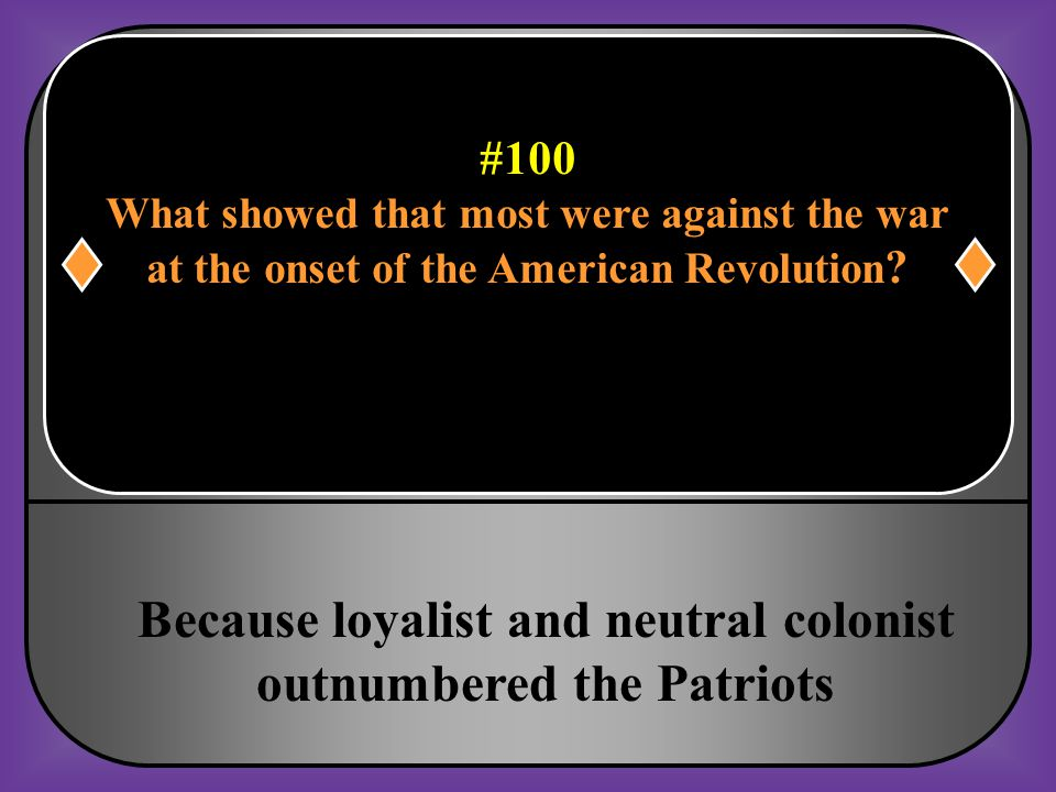 #100 Which of the following showed that A majority of Americans were Probably not in support of the war at the onset of the American Revolution?