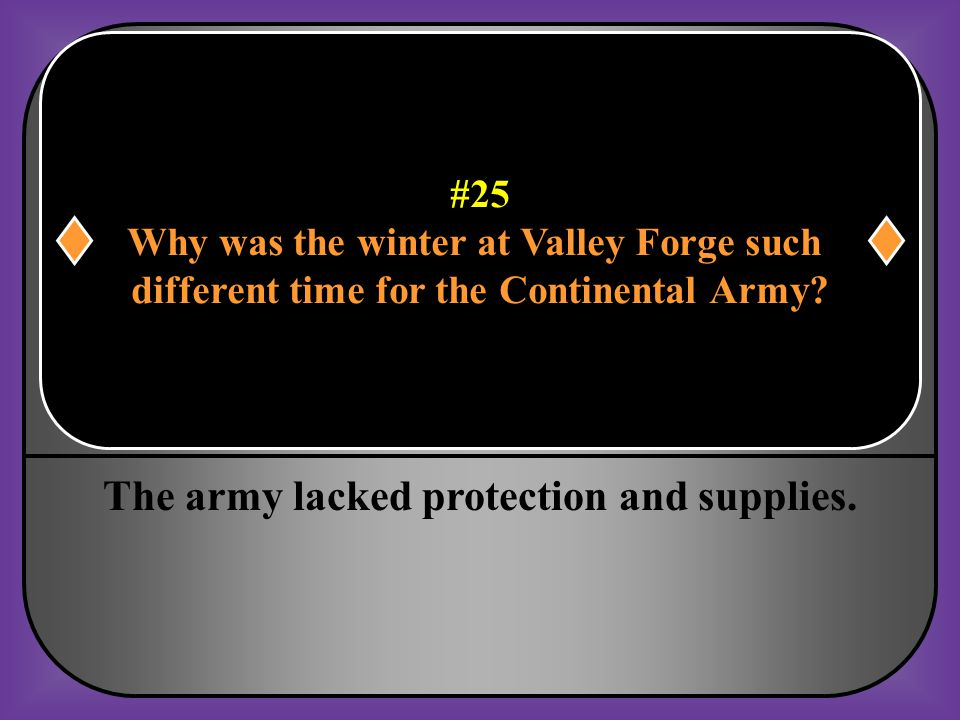 #25 Why was the winter at Valley Forge such different time for the Continental Army?