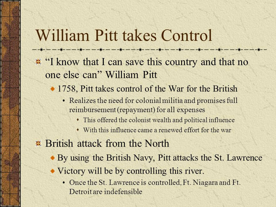 "William Pitt takes Control ""I know that I can save this country and that no one else can"" William Pitt 1758, Pitt takes control of the War for the Bri"