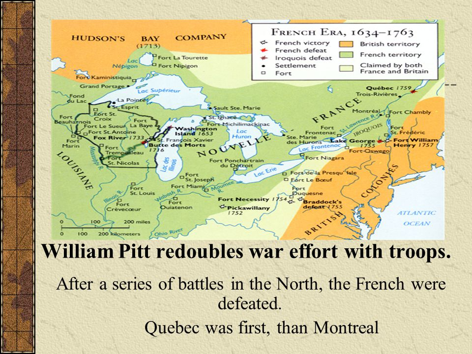 William Pitt redoubles war effort with troops.