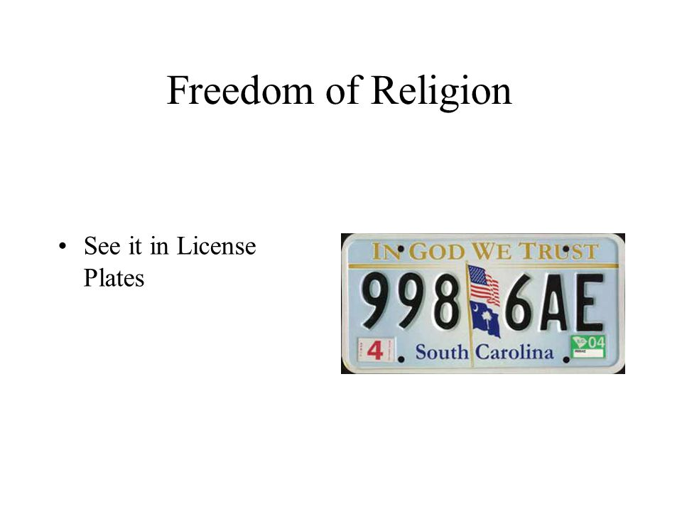 Freedom of Religion See it in License Plates