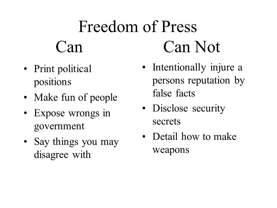 Freedom of Press Can Can Not Print political positions Make fun of people Expose wrongs in government Say things you may disagree with Intentionally injure a persons reputation by false facts Disclose security secrets Detail how to make weapons