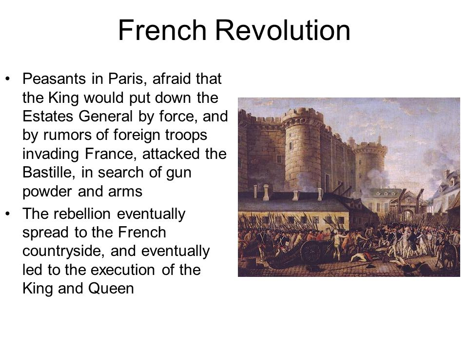 French Revolution Peasants in Paris, afraid that the King would put down the Estates General by force, and by rumors of foreign troops invading France