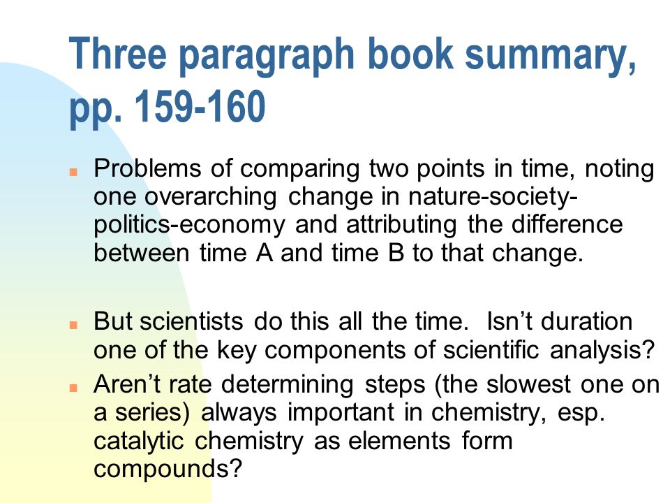 Three paragraph book summary, pp.