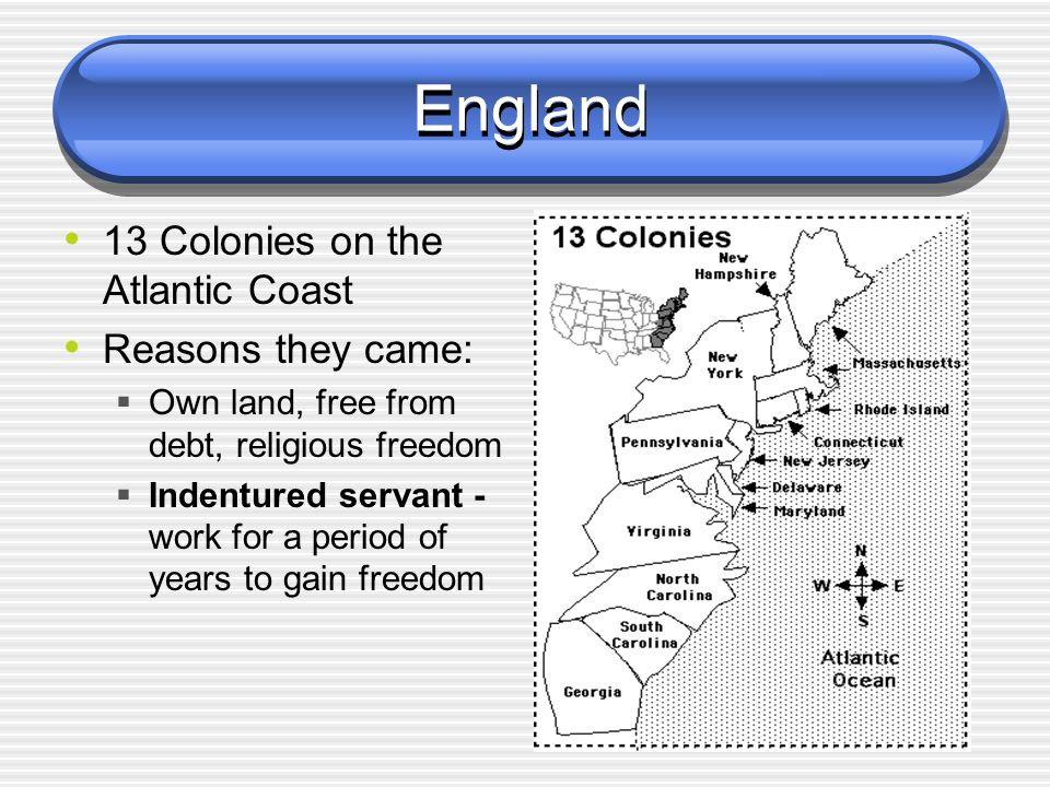 England - Britain 1607 - Jamestown 1620 - Pilgrims  Massachusetts 1640 - Slaves being brought over to work on plantations in the south