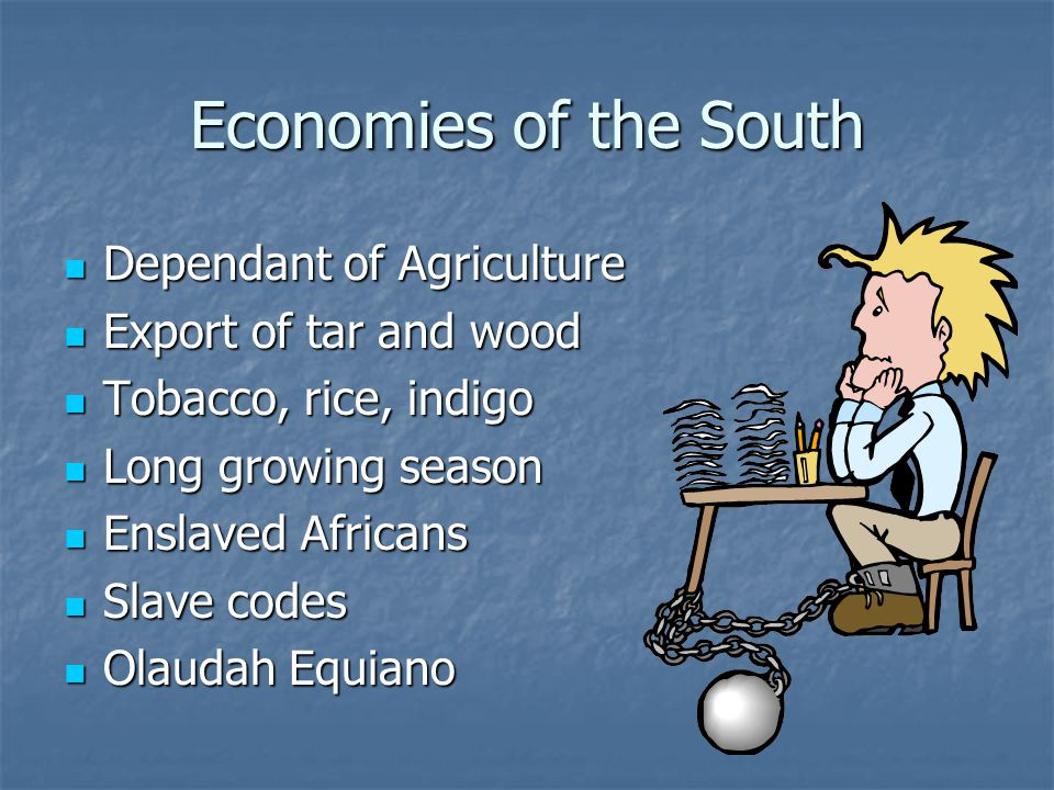 Economies of the South Dependant of Agriculture Dependant of Agriculture Export of tar and wood Export of tar and wood Tobacco, rice, indigo Tobacco,