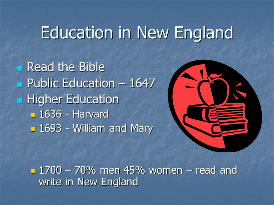 Education in New England Read the Bible Read the Bible Public Education – 1647 Public Education – 1647 Higher Education Higher Education 1636 - Harvar
