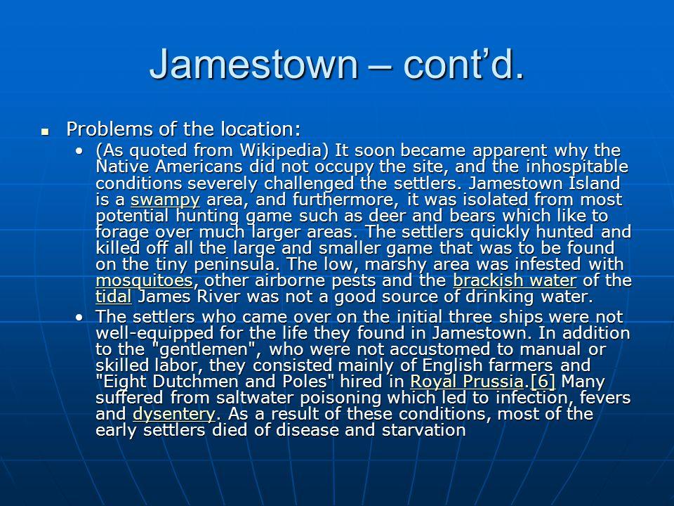 Jamestown – cont'd.