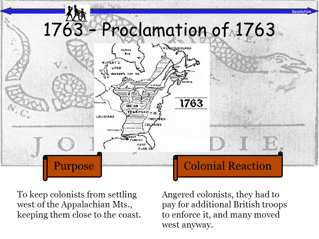 PurposeColonial Reaction Revolution To set up rules and regulations for Quebec and disassociate it from the rest of the colonies.
