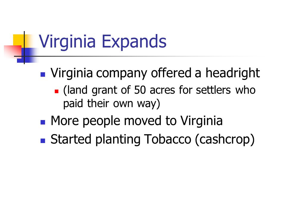 Virginia Expands Virginia company offered a headright (land grant of 50 acres for settlers who paid their own way) More people moved to Virginia Start