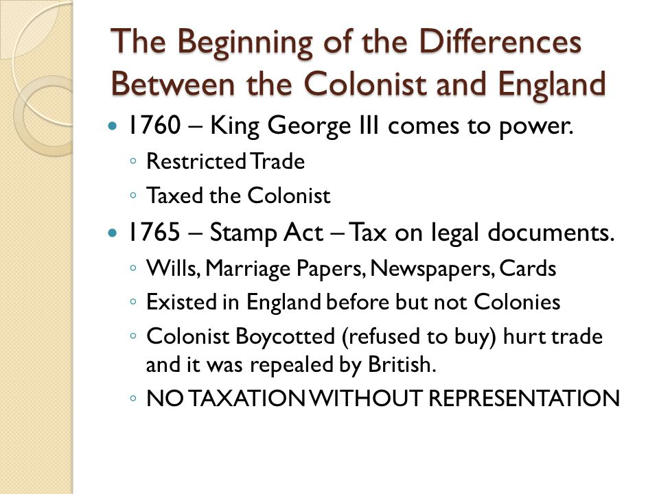 The Beginning of the Differences Between the Colonist and England 1760 – King George III comes to power.
