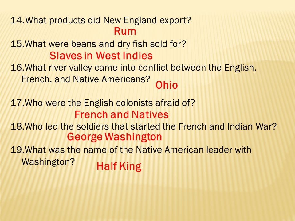 14.What products did New England export. 15.What were beans and dry fish sold for.