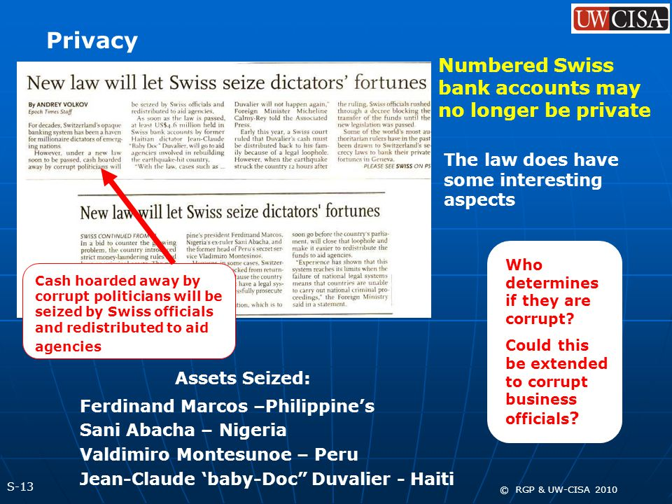 S-13 © RGP & UW-CISA 2010 Privacy Numbered Swiss bank accounts may no longer be private The law does have some interesting aspects Cash hoarded away b