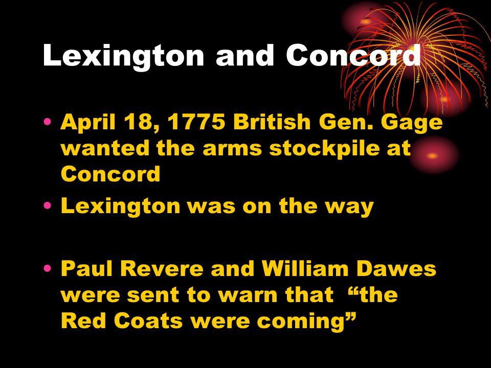 Lexington and Concord April 18, 1775 British Gen.