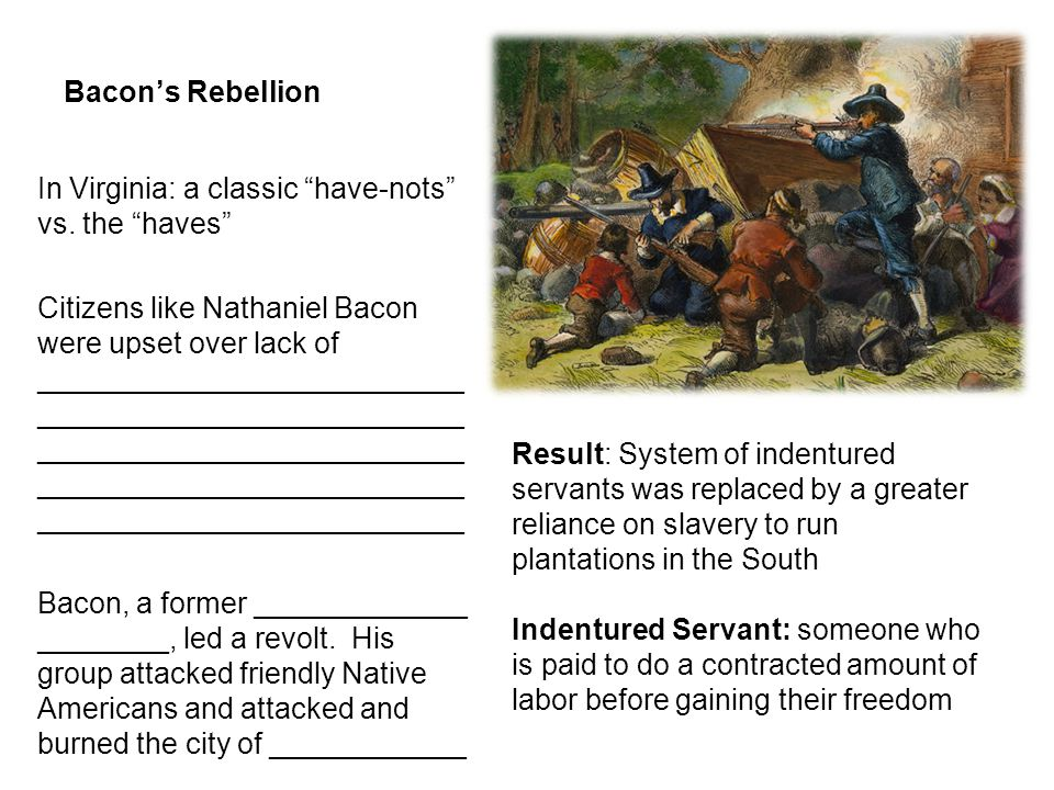 """Bacon's Rebellion In Virginia: a classic """"have-nots"""" vs. the """"haves"""" Citizens like Nathaniel Bacon were upset over lack of __________________________"""