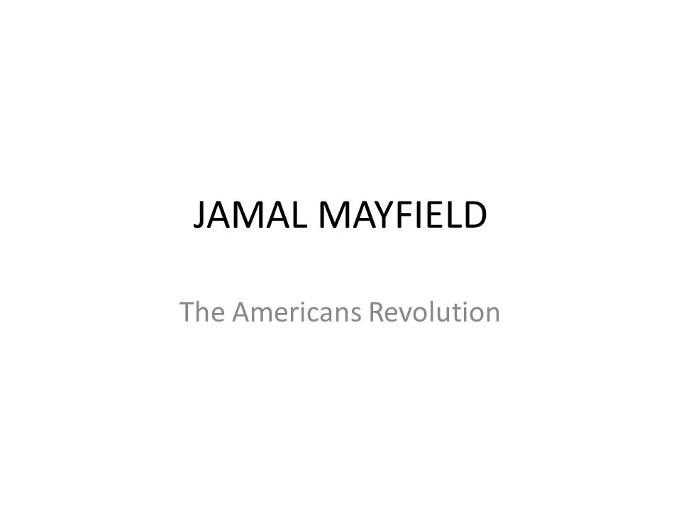 JAMAL MAYFIELD The Americans Revolution