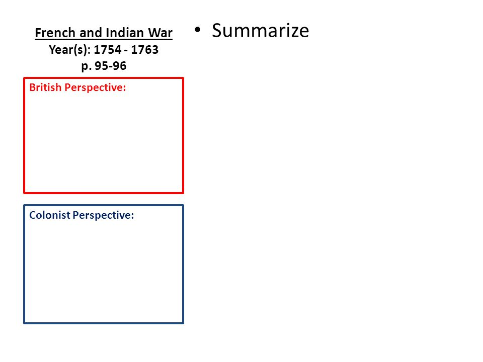 French and Indian War Year(s): 1754 - 1763 p.