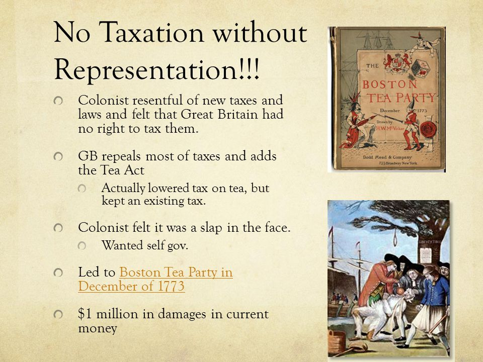 No Taxation without Representation!!.