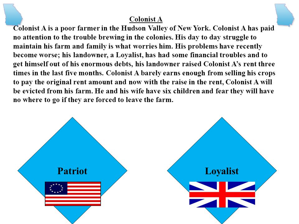 Read the description for each colonist carefully and decide if that person would be a loyalist or patriot. Be careful, though. If you choose the wrong