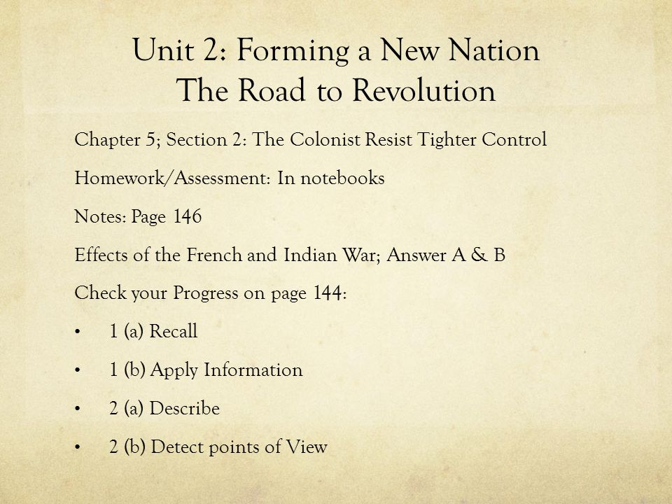 Unit 2: Forming a New Nation The Road to Revolution Chapter 5; Section 2: The Colonist Resist Tighter Control Homework/Assessment: In notebooks Notes: