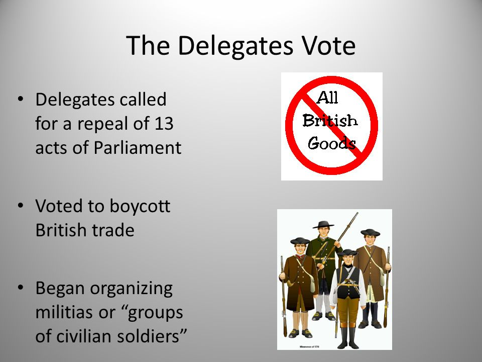"""The Delegates Vote Delegates called for a repeal of 13 acts of Parliament Voted to boycott British trade Began organizing militias or """"groups of civil"""