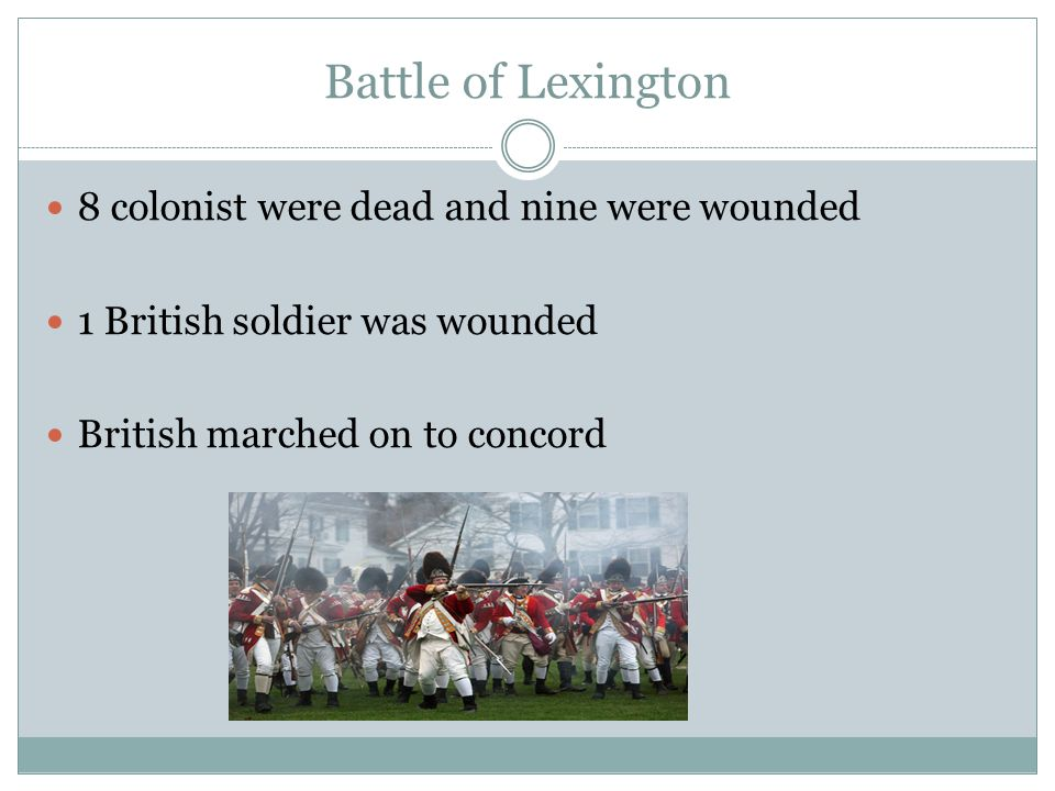 Battle of Lexington 8 colonist were dead and nine were wounded 1 British soldier was wounded British marched on to concord
