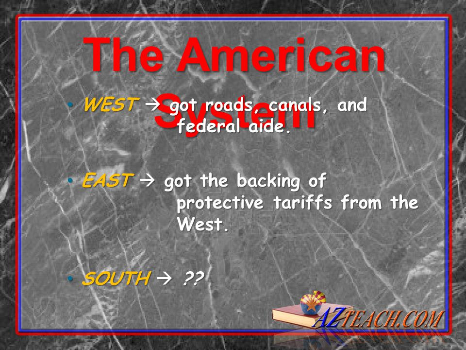 The American System WEST  got roads, canals, and federal aide.