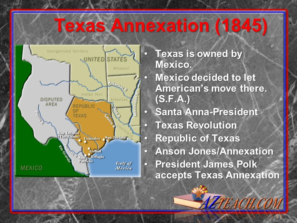 Texas Annexation (1845) Texas is owned by Mexico.Texas is owned by Mexico.