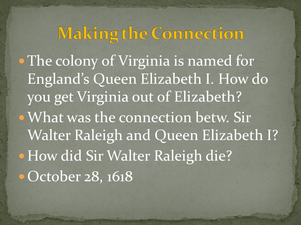 The colony of Virginia is named for England's Queen Elizabeth I. How do you get Virginia out of Elizabeth? What was the connection betw. Sir Walter Ra