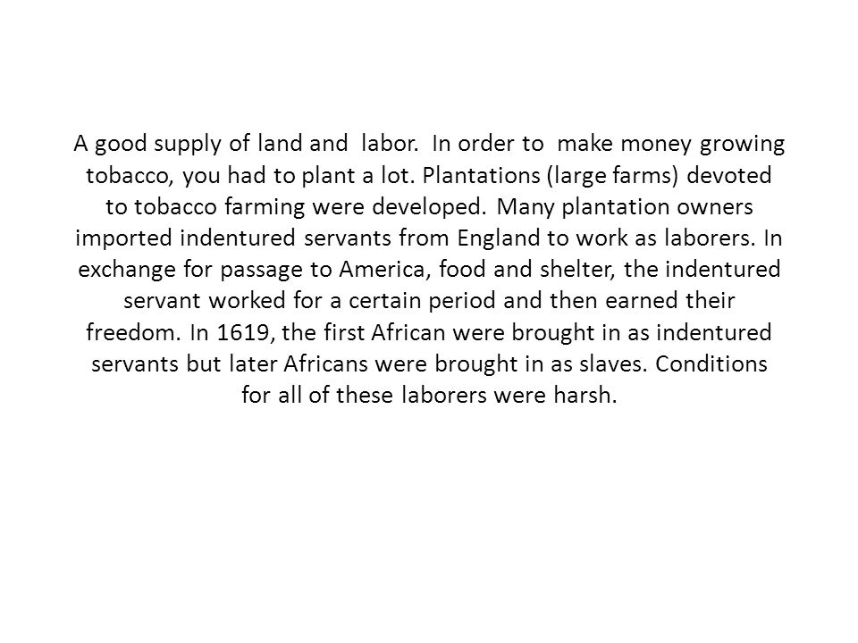 A good supply of land and labor. In order to make money growing tobacco, you had to plant a lot.