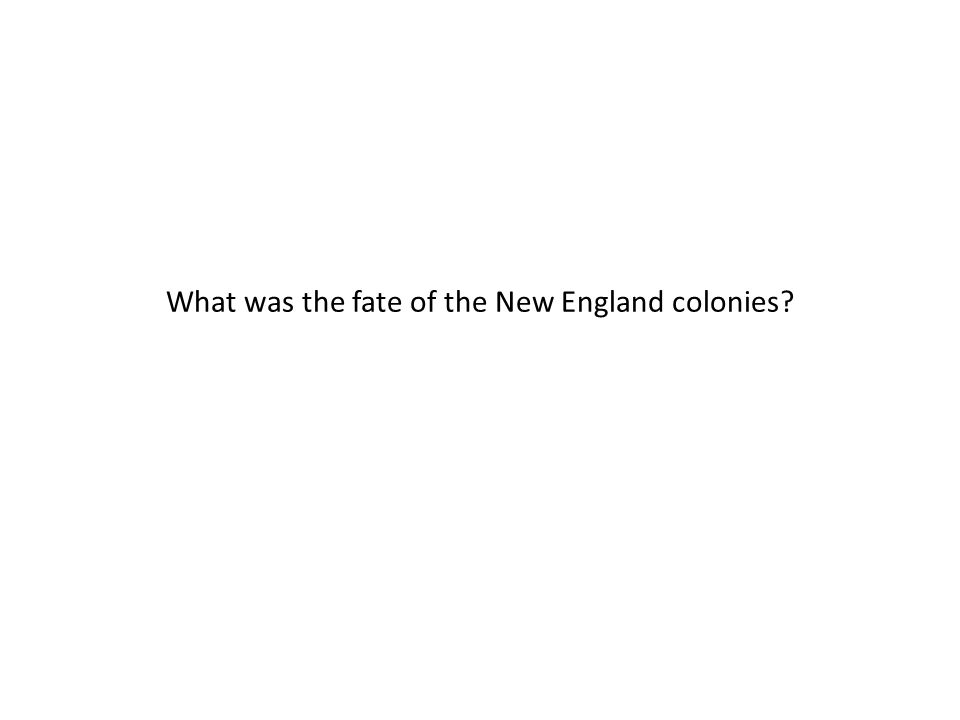 What was the fate of the New England colonies