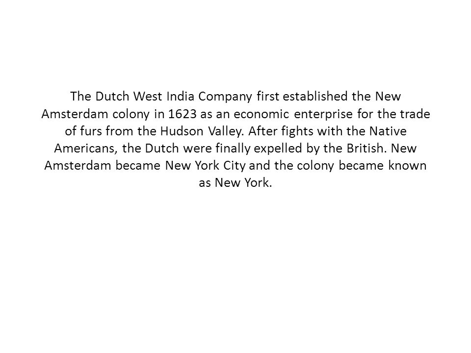 The Dutch West India Company first established the New Amsterdam colony in 1623 as an economic enterprise for the trade of furs from the Hudson Valley.