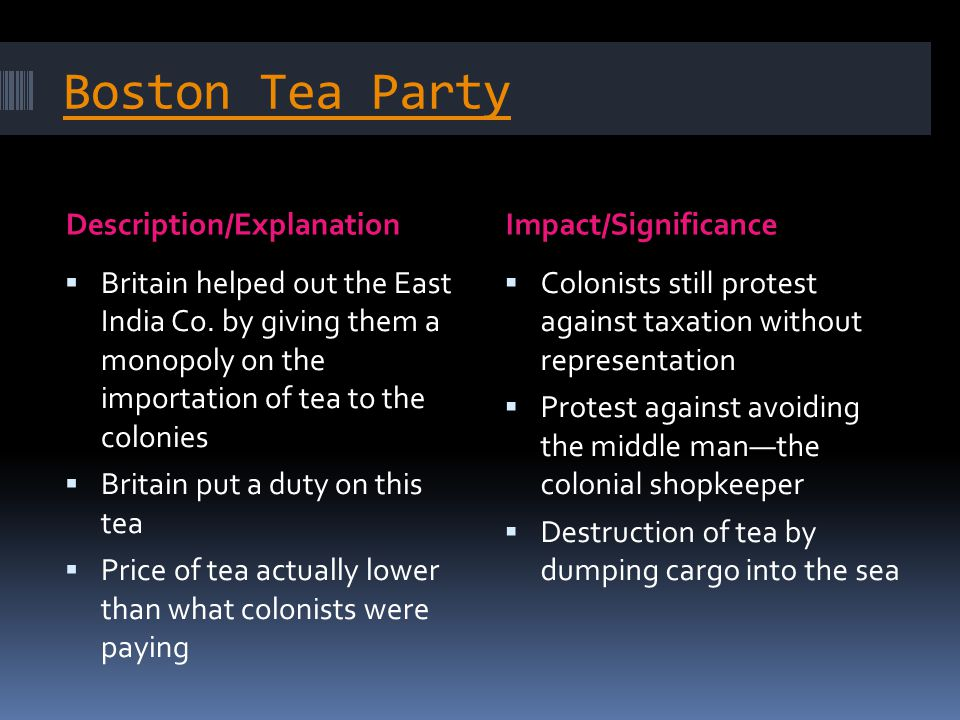 Boston Tea Party Description/ExplanationImpact/Significance  Britain helped out the East India Co. by giving them a monopoly on the importation of te