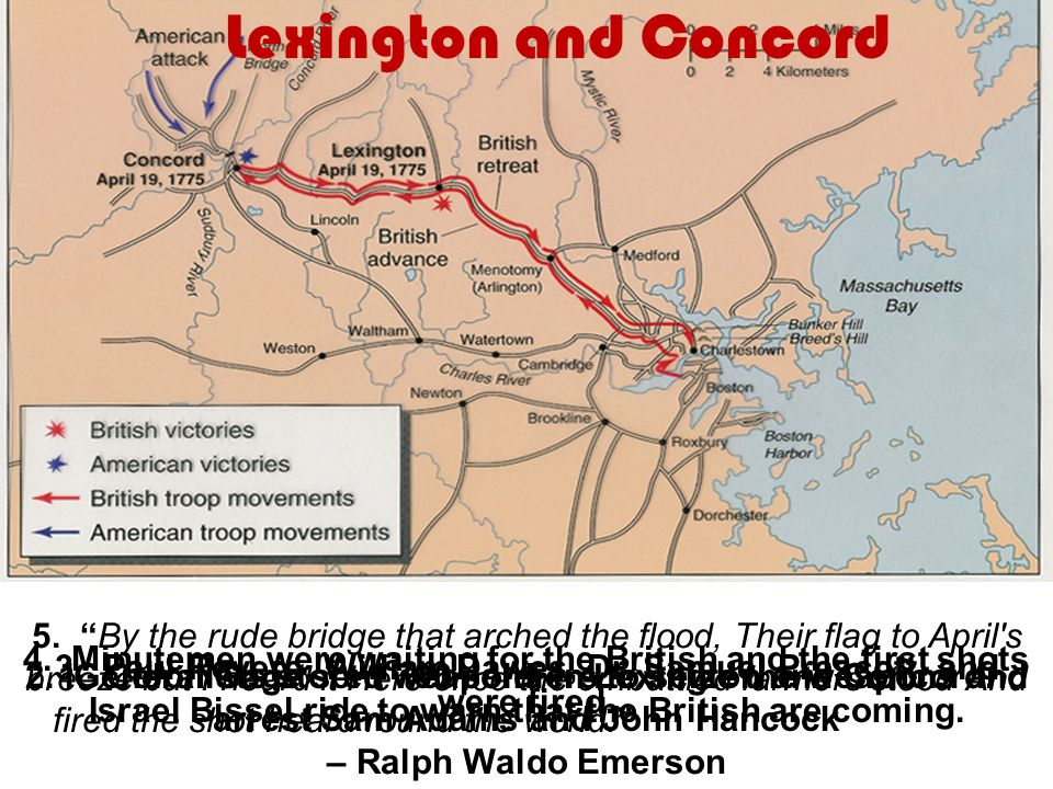 Lexington and Concord 1. Colonists stored weapons in Lexington and Concord.2. General Gage sent 700 soldiers to seize the weapons and arrest Sam Adams
