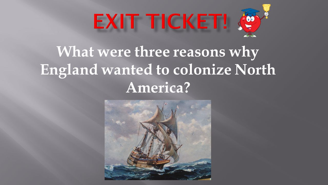 What were three reasons why England wanted to colonize North America?