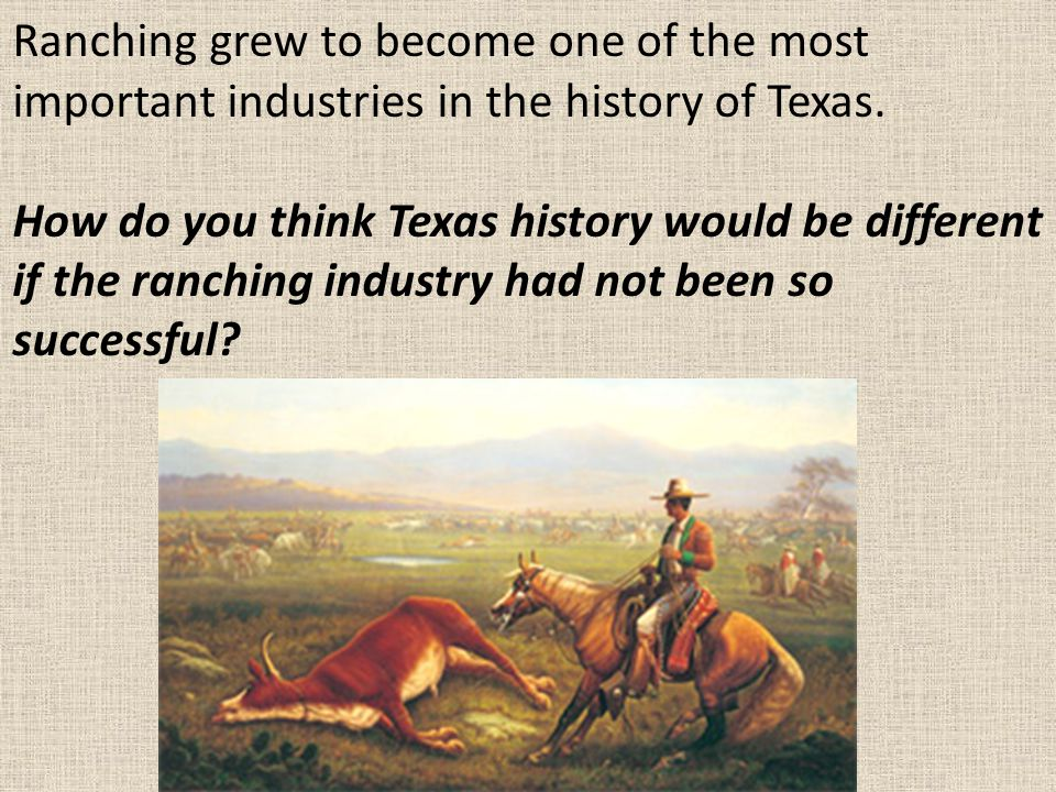 Ranching grew to become one of the most important industries in the history of Texas.