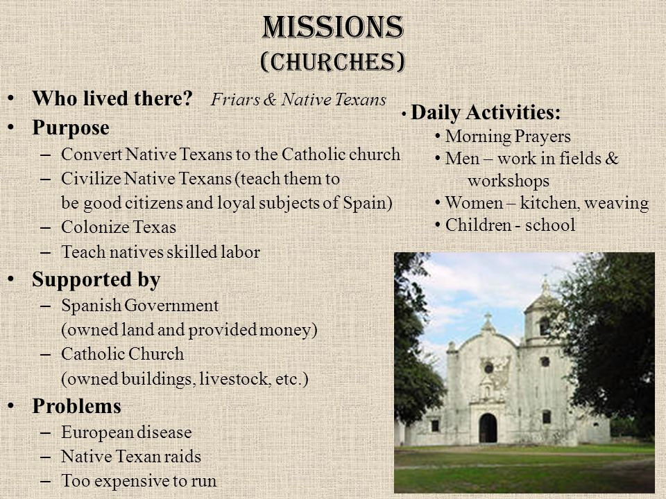 Missions (churches) Who lived there.