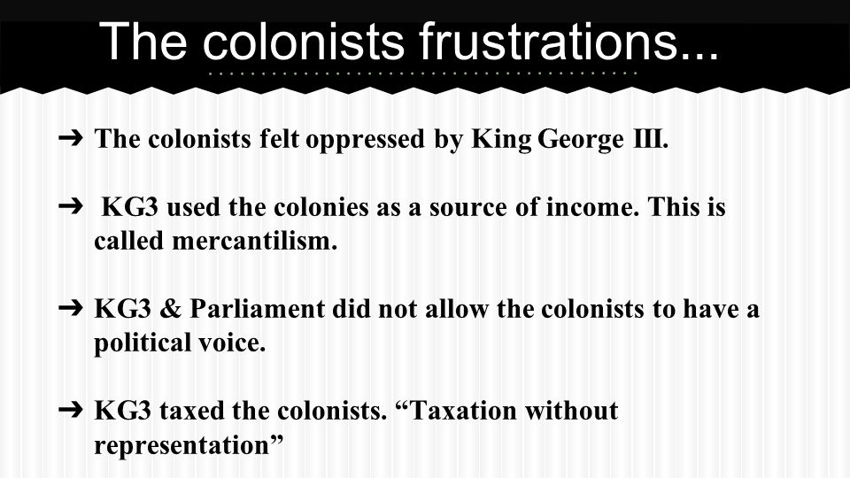 ➔ The colonists felt oppressed by King George III.