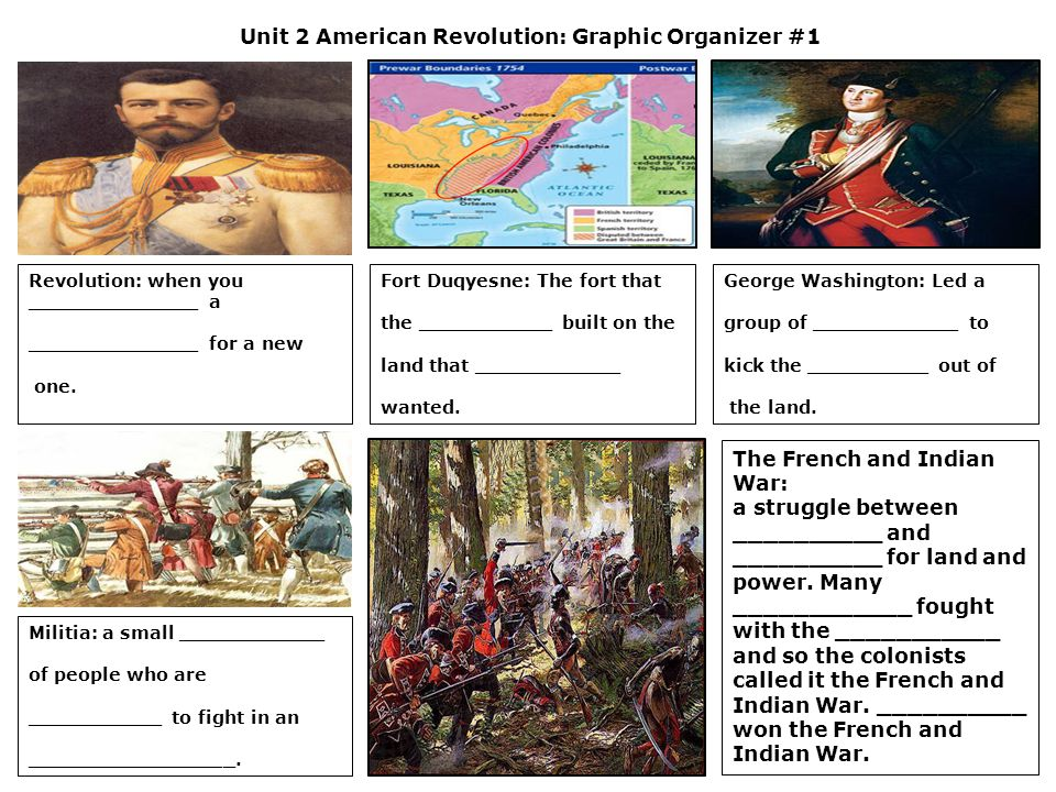 Unit 2 American Revolution: Graphic Organizer #2 King George III: made laws that the ___________ thought were ___________.