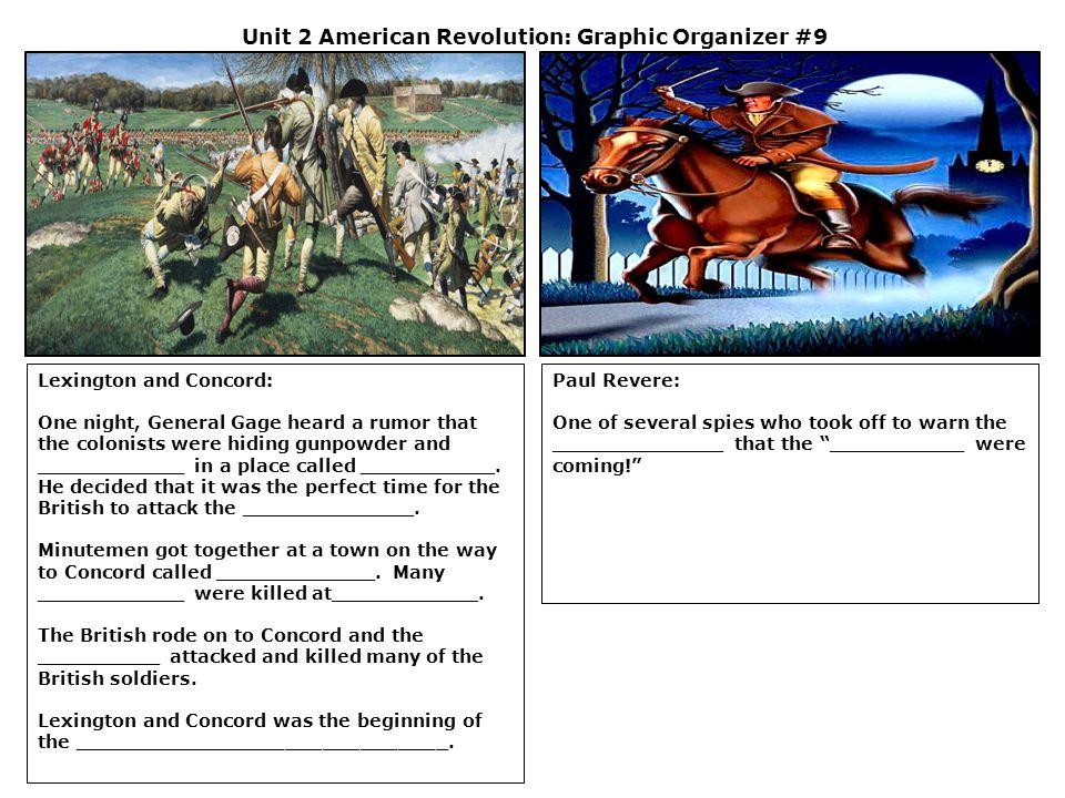 Unit 2 American Revolution: Graphic Organizer #9 Lexington and Concord: One night, General Gage heard a rumor that the colonists were hiding gunpowder