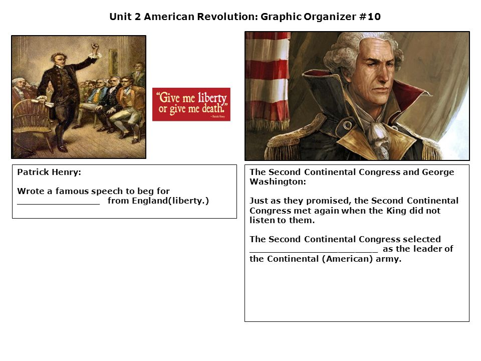 Unit 2 American Revolution: Graphic Organizer #10 Patrick Henry: Wrote a famous speech to beg for _______________ from England(liberty.) The Second Co