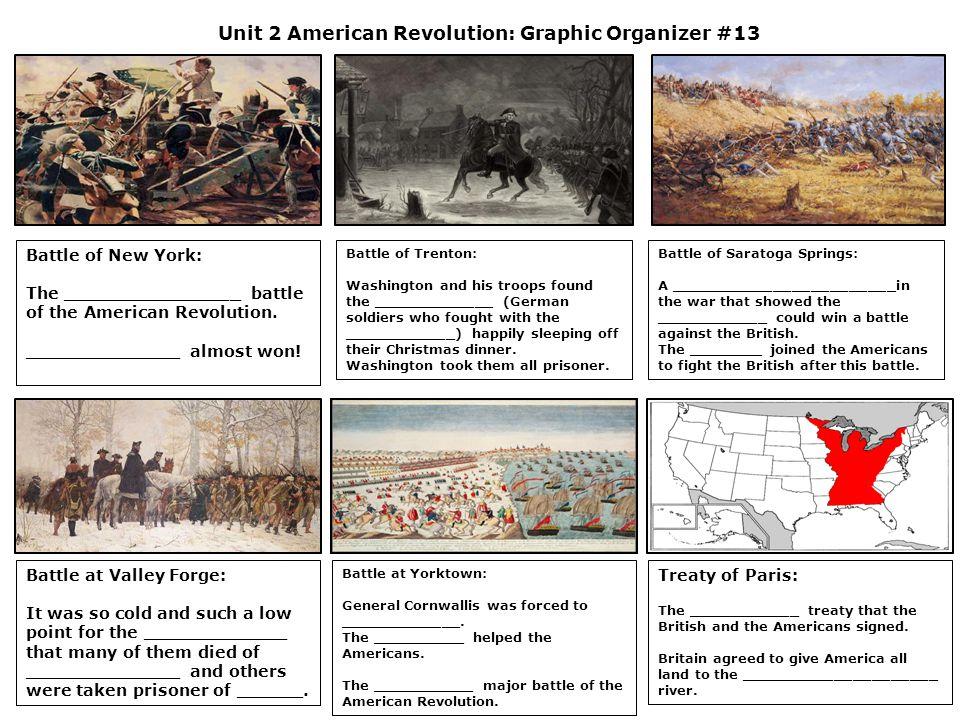 Unit 2 American Revolution: Graphic Organizer #13 Battle of New York: The ________________ battle of the American Revolution. ______________ almost wo