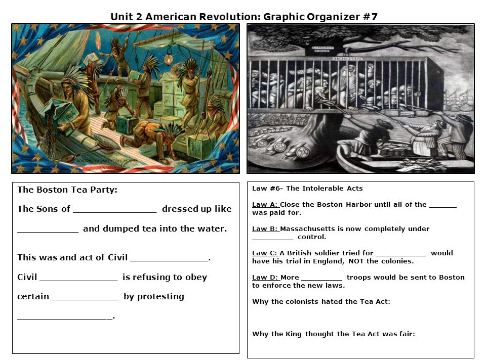 Unit 2 American Revolution: Graphic Organizer #7 The Boston Tea Party: The Sons of _______________ dressed up like ___________ and dumped tea into the water.