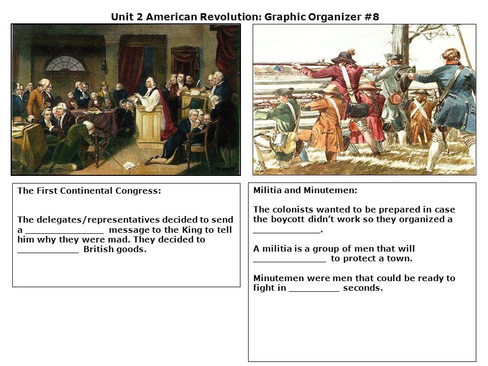 Unit 2 American Revolution: Graphic Organizer #8 The First Continental Congress: The delegates/representatives decided to send a ______________ messag