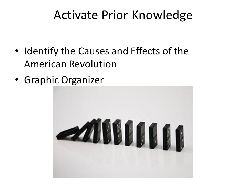 Activate Prior Knowledge Identify the Causes and Effects of the American Revolution Graphic Organizer