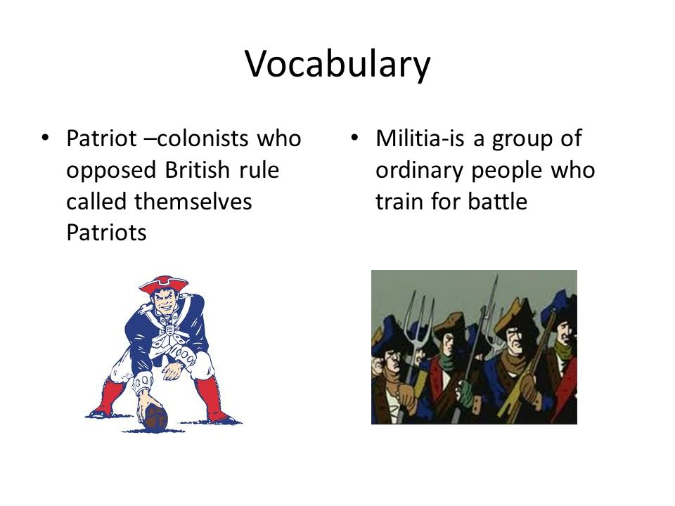 Vocabulary Patriot –colonists who opposed British rule called themselves Patriots Militia-is a group of ordinary people who train for battle