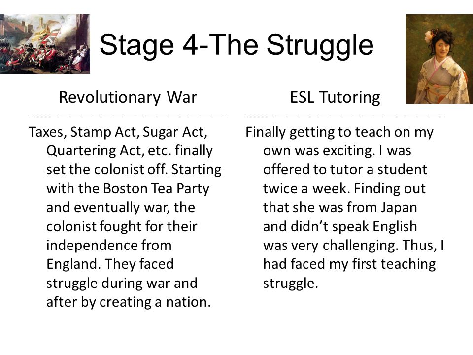 Stage 4-The Struggle Revolutionary War ______________________________________________________ Taxes, Stamp Act, Sugar Act, Quartering Act, etc.