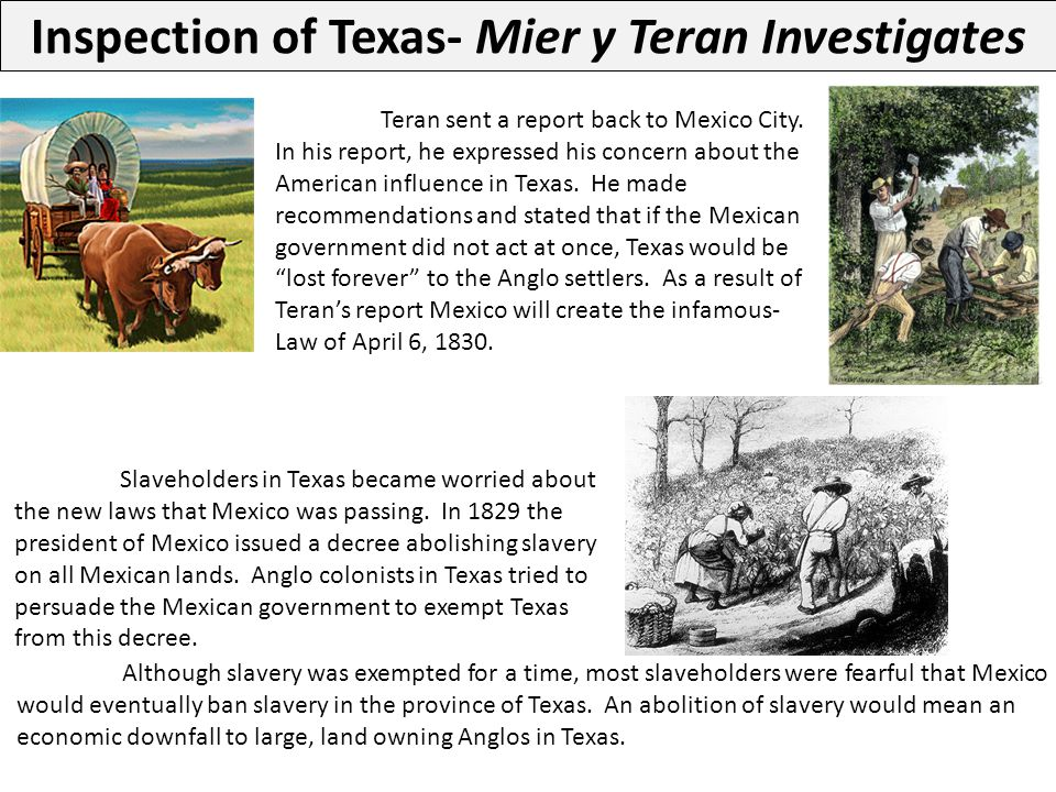 Although slavery was exempted for a time, most slaveholders were fearful that Mexico would eventually ban slavery in the province of Texas. An aboliti