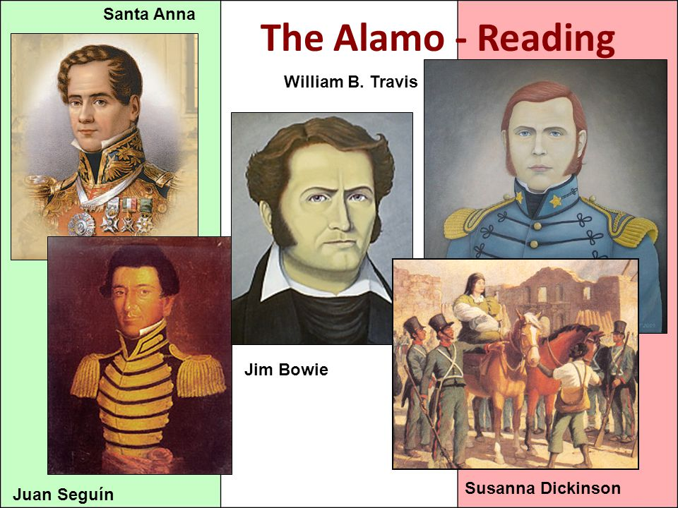 The Alamo - Reading Juan Seguín Jim Bowie William B. Travis Susanna Dickinson Santa Anna